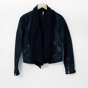 FREE PEOPLE Black Denim Jacket With Attached Scarf